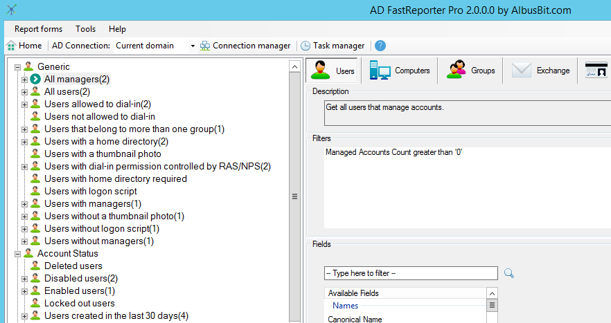AD FastReporter - Active Directory reporting tool