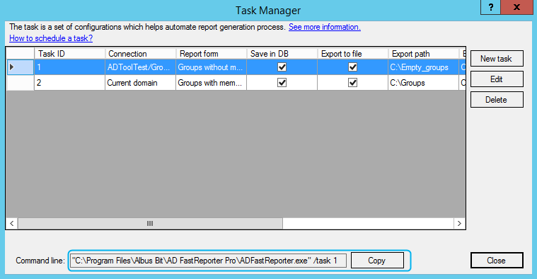 AD FastReporter - Task scheduling